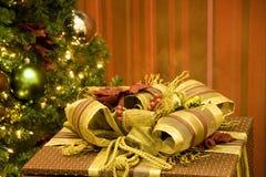 Christmas tree gift box Stock Images