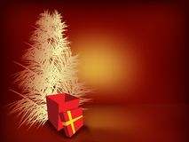 Christmas tree and gift box Royalty Free Stock Photography