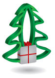 Christmas tree with Gift box. Abstract illustration for holidays Royalty Free Stock Image