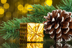 Christmas tree with gift box Royalty Free Stock Images