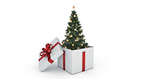 Christmas tree. Gift box concept. 3D rendering Royalty Free Stock Photography