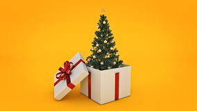 Christmas tree. Gift box concept. 3D rendering Royalty Free Stock Images