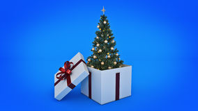 Christmas tree. Gift box concept. 3D rendering Stock Images