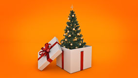 Christmas tree. Gift box concept. 3D rendering Royalty Free Stock Photos