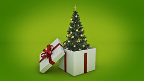 Christmas tree. Gift box concept. 3D rendering Stock Photo