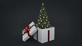Christmas tree. Gift box concept. 3D rendering Stock Photos