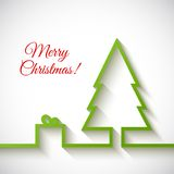 Christmas tree with gift box in flat style on. White background Vector Illustration Stock Photo