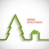 Christmas tree with gift box in flat style on. White background Vector Illustration Stock Images