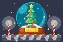 Christmas tree gift box glass ball flat design vector illustration. Christmas tree gift box glass ball design flat vector illustration Royalty Free Stock Photography