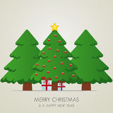 Christmas tree gift box and gold. Star vector illustration