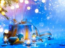 Christmas tree, Christmas gift box and holidays ornament; Christmas invitation card background stock images