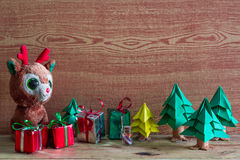 Christmas tree, gift box and Teddy reindeer decoration image. Stock Images