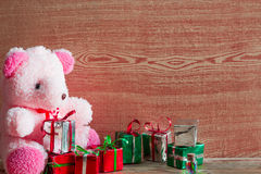 Christmas tree, gift box and Teddy reindeer decoration image. Royalty Free Stock Photos