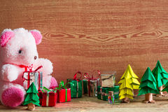 Christmas tree, gift box and Teddy reindeer decoration image. Royalty Free Stock Images