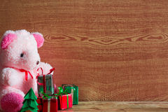 Christmas tree, gift box and Teddy reindeer decoration image. Royalty Free Stock Image