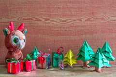Christmas tree, gift box and Teddy reindeer decoration image. Stock Photography