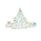 Christmas tree, gift box, vector illustration in sketch design for web sites Royalty Free Stock Images