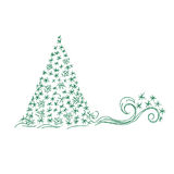 Christmas tree, gift box, vector illustration in sketch design for web sites Stock Photo