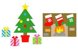 Christmas tree, gift boxes, christmas stockings. Stove, illustration Stock Images