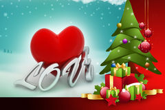 Christmas tree and gift boxes Royalty Free Stock Images