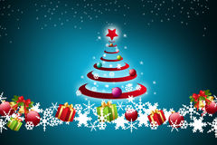 Christmas tree and gift boxes Stock Images