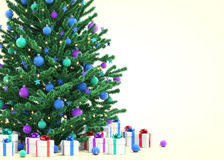 Christmas tree with gift boxes. 3D illustration Royalty Free Illustration