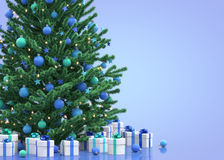 Christmas tree with gift boxes. 3D illustration Stock Illustration