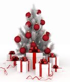 Christmas tree and gift boxes. 3d illustration of christmas tree and gift boxes on white background Royalty Free Stock Photos