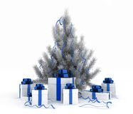 Christmas tree and gift boxes. 3d illustration of christmas tree and gift boxes on white background Stock Images