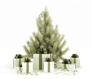 Christmas tree and gift boxes Stock Photography