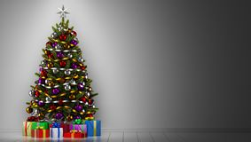 Christmas tree with gift boxes in dark room vector illustration