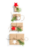 Christmas tree gift boxes Flat lay background royalty free stock photo