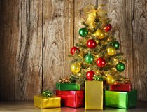 Christmas tree with gift boxes Royalty Free Stock Photo