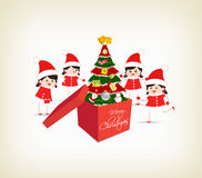 Christmas tree gift boxes and kids greeting card. Merry christmas background and greeting card design Stock Photos