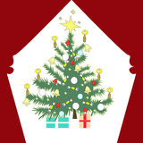 Christmas tree with gift boxes from outside Stock Photography