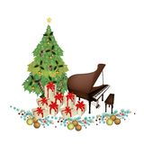 Christmas Tree with Gift Boxes and Piano. Christmas Tree of Green Maple Leaves with Pile of Gift Boxes and Grand Piano, Sign for Christmas Celebration Royalty Free Stock Photos