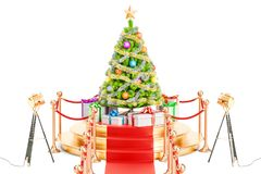 Christmas tree and gift boxes on the podium, 3D rendering. Isolated on white background stock illustration