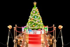 Christmas tree and gift boxes on the podium, 3D rendering. Isolated on black background vector illustration