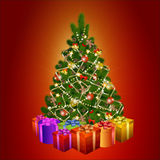 Christmas tree with gift boxes on red background Royalty Free Stock Photography