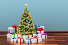 Christmas tree and gift boxes in the room, 3D rendering vector illustration