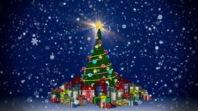 Christmas tree with gift boxes. At snowfall background stock footage