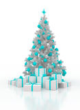 Christmas tree with gift boxes on a white background. Festively decorated Christmas tree with gift boxes on a white background Stock Images