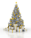 Christmas tree with gift boxes on a white background. Festively decorated Christmas tree with gift boxes on a white background Royalty Free Stock Photos
