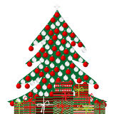 Christmas tree and gift boxes on white background Stock Photo