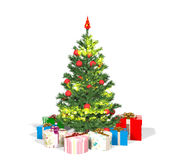 Christmas tree and gift boxes on white background Stock Images