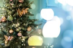 Christmas tree with gift close up. stock photo