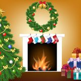 Christmas tree, gift and fireplace Stock Photo