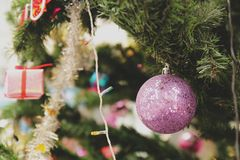Christmas tree with gift royalty free stock photos