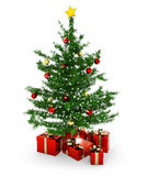 Christmas tree and gift parcels Royalty Free Stock Image