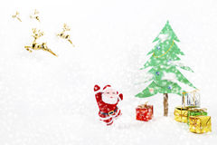 Christmas tree and gift of santa claus. Royalty Free Stock Photos